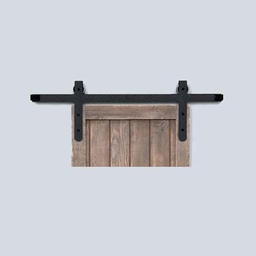 Acorn Manufacturing Designer Barn Door Rolling Hardware and 5 feet Track Rough Iron BH7BI-5