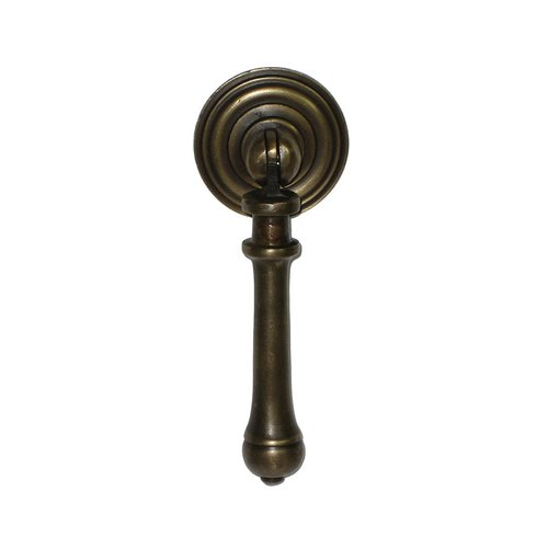 Teardrop Pulls 1-7/16 Inch Diameter Unlacquered Antique Brass Pendant Pull <small>(#HTP1012)</small>