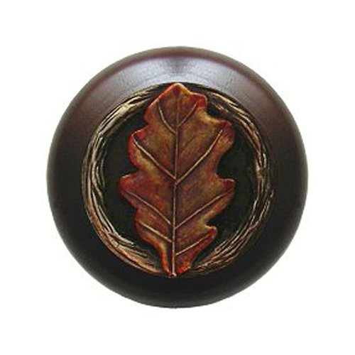 Notting Hill Leaves 1-1/2 Inch Diameter Brass Hand Tinted Cabinet Knob NHW-744W-BHT