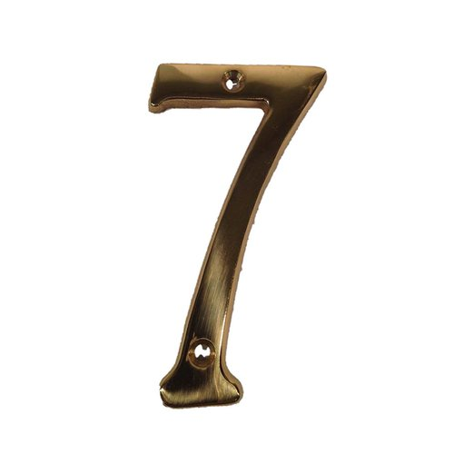"Don-Jo 4"" House Number ""7"" Bright Brass BN4-7-605"