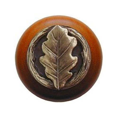 Leaves 1-1/2 Inch Diameter Antique Brass Cabinet Knob <small>(#NHW-744C-AB)</small>