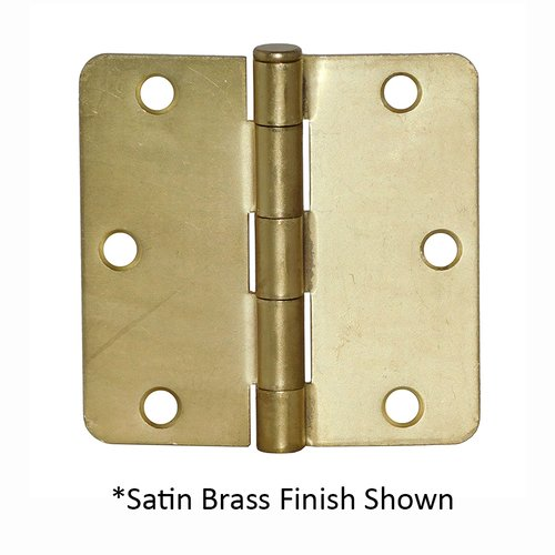 Don-Jo 1/4 inch Radius Door Hinge 4 inch x 4 inch Bright Brass RPB74040-14-632