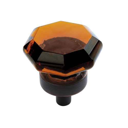 Amerock Traditional Classics 1 Inch Diameter Amber Glass/Oil Rubbed Bronze Cabinet Knob BP55266AORB
