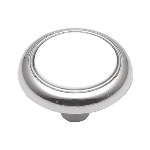 Hickory Hardware Tranquility 1-1/4 Inch Diameter White Porcelain with Chrome Cabinet Knob P710-CH