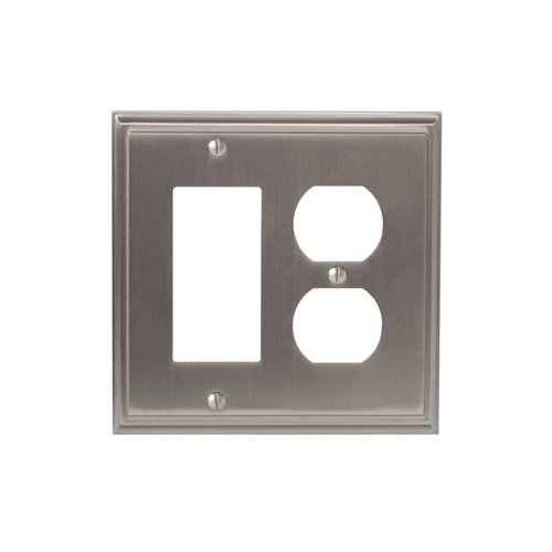 Amerock Mulholland One Rocker, 1 Receptacle Wall Plate Satin Nickel BP36525G10