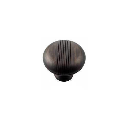 MNG Hardware Striped 1-1/2 Inch Diameter Oil Rubbed Bronze Cabinet Knob 13213