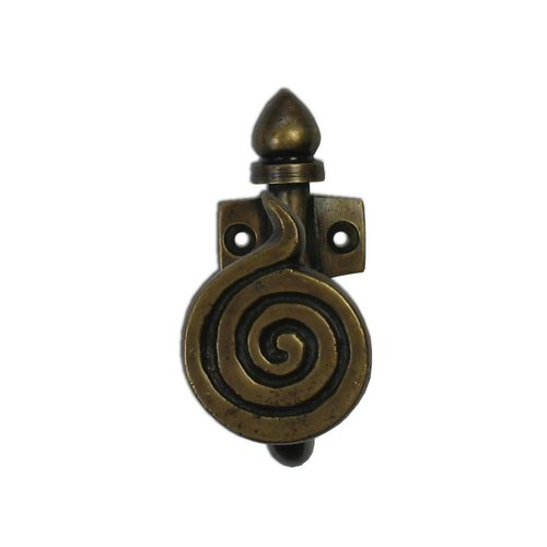 "Gado Gado Spiral Motif Hook 2-3/4"" L X 1-1/4"" W - Antique Brass HHK7070"
