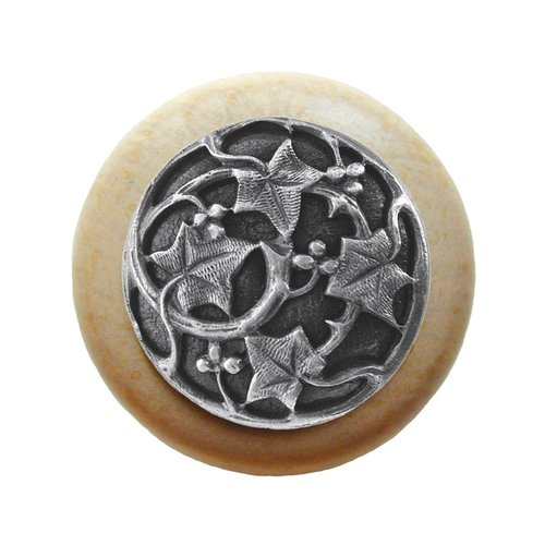Notting Hill Leaves 1-1/2 Inch Diameter Antique Pewter Cabinet Knob NHW-715N-AP