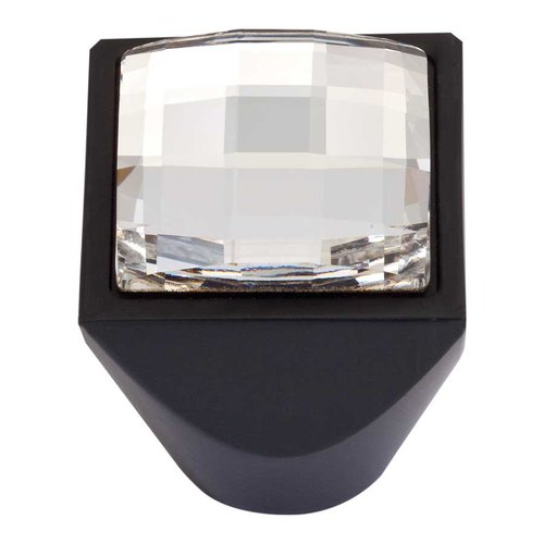 Atlas Homewares Boutique Crystal 1 Inch Diameter Matte Black Cabinet Knob 3196-BL