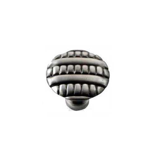 MNG Hardware Ribbed 1-3/8 Inch Diameter Satin Antique Nickel Cabinet Knob 14711