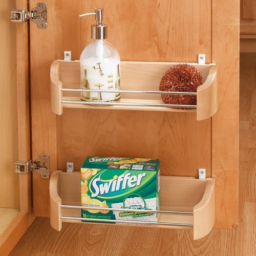 """Rev-A-Shelf Wood Door Storage Tray with Mounting Clips 14"""" 4231-14-52"""