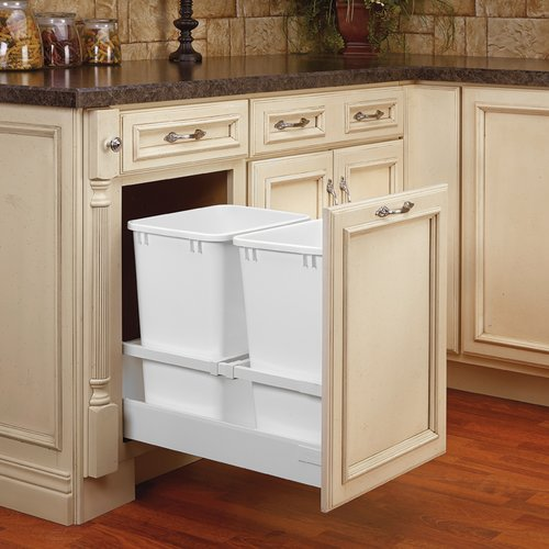 Rev-A-Shelf TWCSC Double Trash Pullout For 18 inch Cabinet 35 Quart White TWCSC-18DM-2