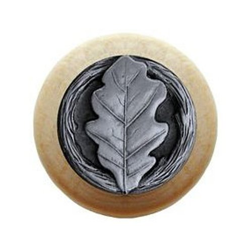 Notting Hill Leaves 1-1/2 Inch Diameter Antique Pewter Cabinet Knob NHW-744N-AP