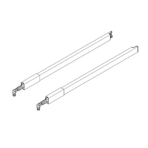 Blum Tandembox 22 inch Center Gallery Rod Set Stainless Steel ZRG.487RIIE