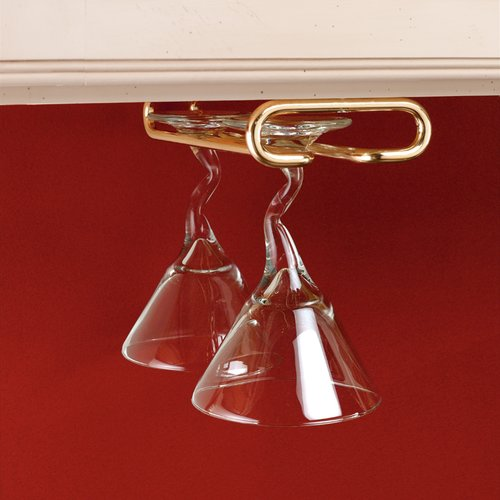 Rev-A-Shelf Single Stemware Holder 16 inch D- Brass 3150-16BR