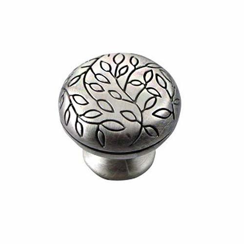 MNG Hardware Vine 1-1/2 Inch Diameter Satin Antique Silver Cabinet Knob 15111