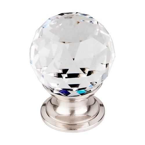 Top Knobs Crystal 1-1/8 Inch Diameter Clear Crystal Cabinet Knob TK125BSN