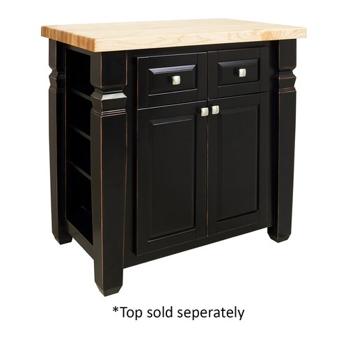 "Jeffrey Alexander 34"" Loft Kitchen Island w/o Top - Aged Black ISL12-AGB"