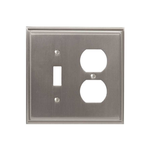 Amerock Mulholland One Toggle, 1 Receptacle Wall Plate Satin Nickel BP36524G10