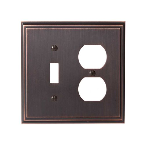 Amerock Mulholland One Toggle, 1 Receptacle Wall Plate Oil Rubbed Br BP36524ORB