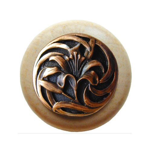 Notting Hill Floral 1-1/2 Inch Diameter Antique Copper Cabinet Knob NHW-703N-AC
