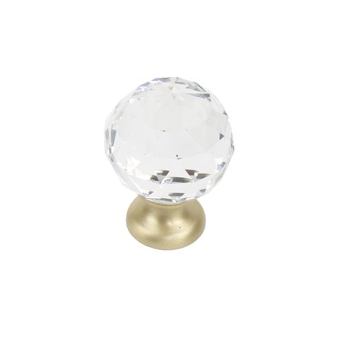 "Glamour Knob 1-1/8"" Dia Transparent With Satin Brass Base <small>(#18905-4CS)</small>"