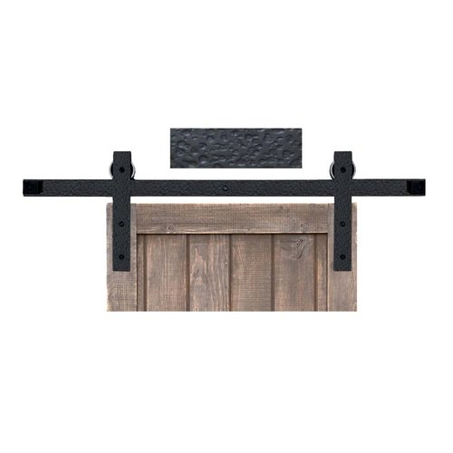 Basic Barn Door Rolling Hardware & 6' Track Rough Iron <small>(#BH3BI-6)</small>