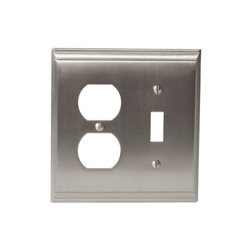 Amerock Candler One Toggle, 1 Receptacle Wall Plate Satin Nickel BP36510G10