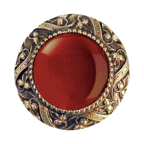 Jewel 1-5/16 Inch Diameter Antique Brass Cabinet Knob <small>(#NHK-124-AB-RC)</small>
