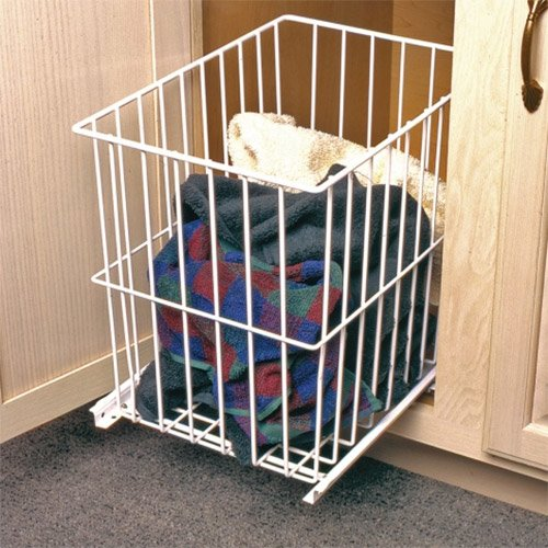 "Knape and Vogt Roll-Out Wire Hamper 15""W- White H1515-W"