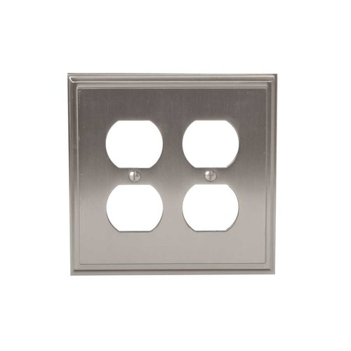 Mulholland Two Receptacle Wall Plate Satin Nickel <small>(#BP36523G10)</small>