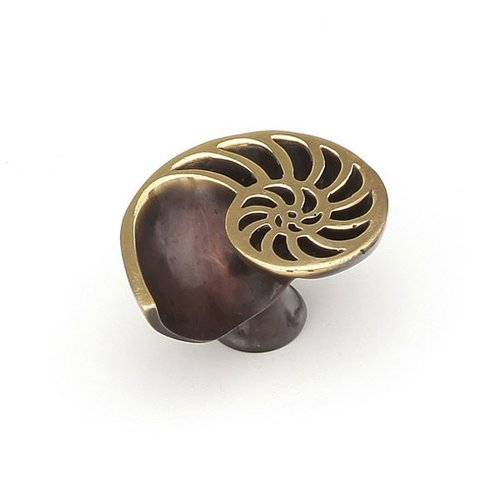 Schaub and Company Neptune 1-1/2 Inch Diameter Polished Brass and Bronze Cabinet Knob 980R-PB/BZ