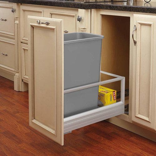 Rev-A-Shelf Single Trash Pullout 50 Quart-Silver 5149-1550DM-117
