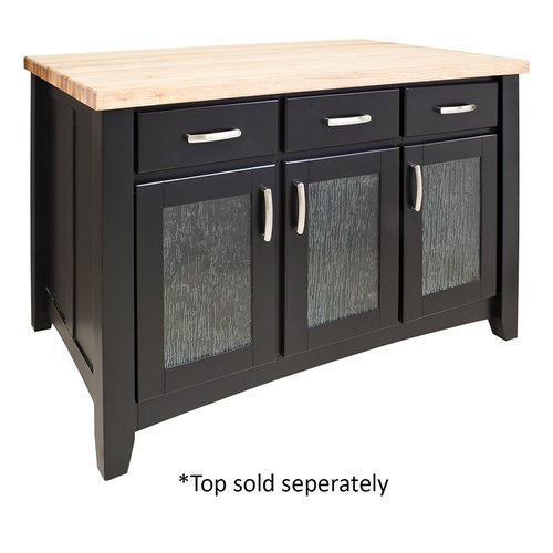 "52"" Contemporary Kitchen Island w/o Top - Black <small>(#ISL07-BLK)</small>"