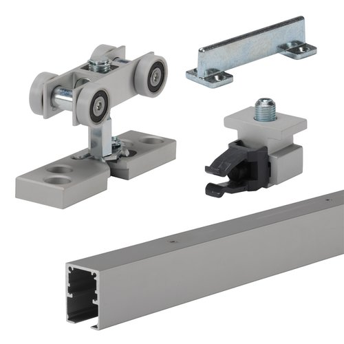 Grant Door Hardware by Hettich Grant SD Single Sliding Door Track and Hardware Set 4 feet Anodized Aluminum 9200613