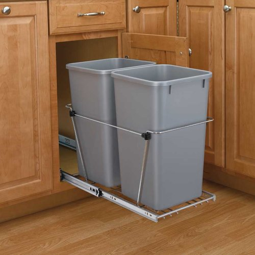 Rev-A-Shelf Double Trash Pullout 35 Quart-Silver RV-18KD-17C S