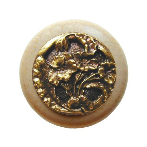 Notting Hill Floral 1-1/2 Inch Diameter Antique Brass Cabinet Knob NHW-704N-AB