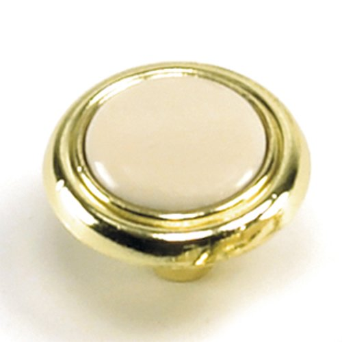 Laurey Hardware First Family 1-1/4 Inch Diameter Almond/Polished Brass Cabinet Knob 15409