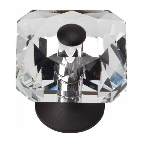 Atlas Homewares Boutique Crystal 1-1/2 Inch Diameter Matte Black Cabinet Knob 3209-BL