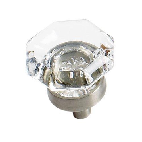 Amerock Traditional Classics 1 Inch Diameter Clear Glass/Satin Nickel Cabinet Knob BP55266CG10