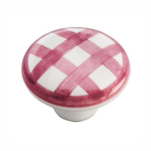 "Hickory Hardware English Cozy Knob 1-1/2"" Dia White and Red Checker P2180-WRCK"