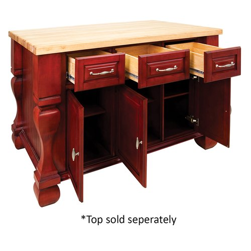 Jeffrey Alexander 53 inch Tuscan Kitchen Island with o Top - Brilliant Red ISL01-RED