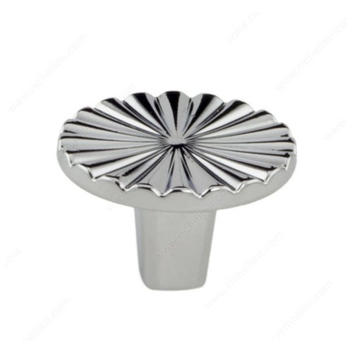 Art Deco 1-3/16 Inch Diameter Chrome Cabinet Knob <small>(#157030140)</small>