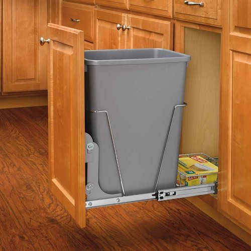 Rev-A-Shelf Single Trash Pullout 35 Quart-Silver RV-12KD-17C S