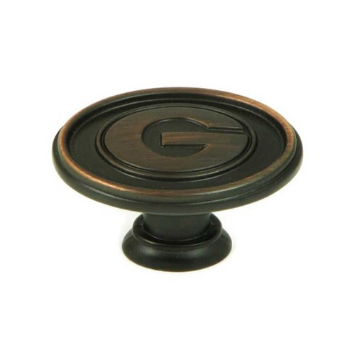 Stone Mill Hardware Collegiate 1-1/2 Inch Diameter Oil Rubbed Bronze Cabinet Knob CL81097-OB-GEO