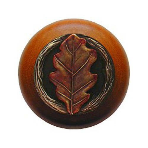 Notting Hill Leaves 1-1/2 Inch Diameter Brass Hand Tinted Cabinet Knob NHW-744C-BHT