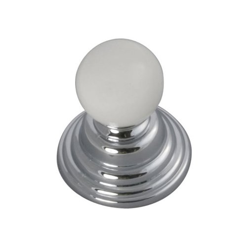 Hickory Hardware Gaslight 1-1/4 Inch Diameter Chrome With White Cabinet Knob P3411-CHW