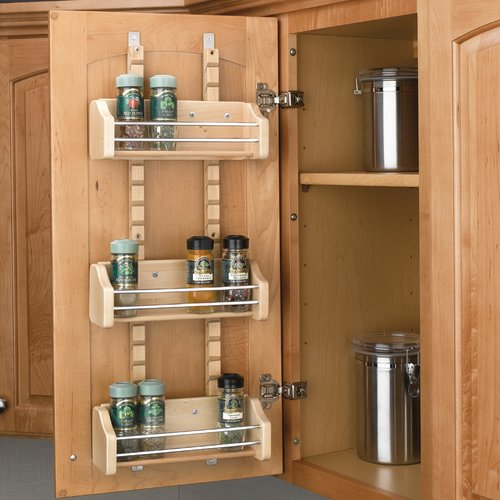 "Rev-A-Shelf Adjustable Door Mt Spice Rack 18"" Wood 4ASR-18"