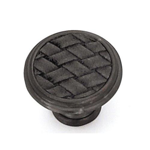 Laurey Hardware Churchill 1-1/8 Inch Diameter Oil Rubbed Bronze/Black Leather Cabinet Knob 12092
