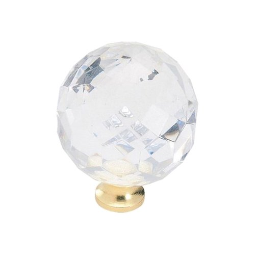 Amerock Knob 1-3/8 inch Diameter Acrylic/Burnished Brass BP907CBB
